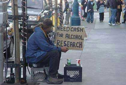 "A Veteran sits on the street waiting for handouts for ""Alcohol Research"""